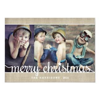 Whimsical Burlap Rustic Merry Christmas Photo Invites