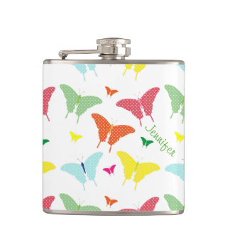Whimsical Butterflies Custom Drinking Flask