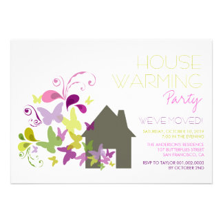 Whimsical Butterflies House Warming Party Invite Personalized Announcement