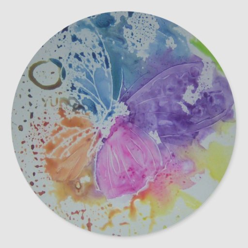 Whimsical Butterfly Classic Round Sticker