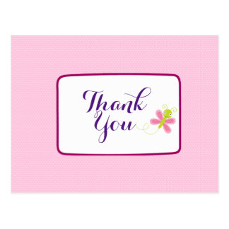 Whimsical Butterfly on Pink Polka Dots Thank You Postcard