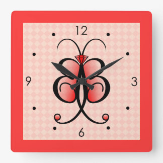 Whimsical Butterfly Pretty Pink Square Wall Clock Wall Clocks