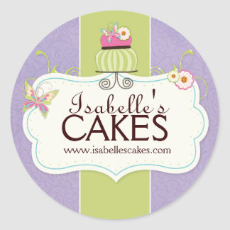 Whimsical Cake Labels Classic Round Sticker