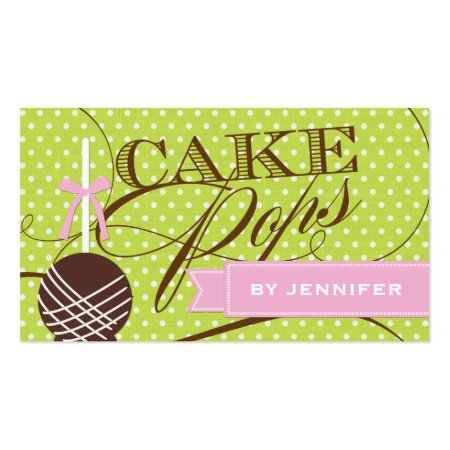 Whimsical Green Background Cute Cake Pop Business Card Template