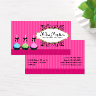Whimsical Cake Pops Desserts Business Card