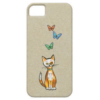 Whimsical Calico cat with Butterflies drawing iPhone 5 Case