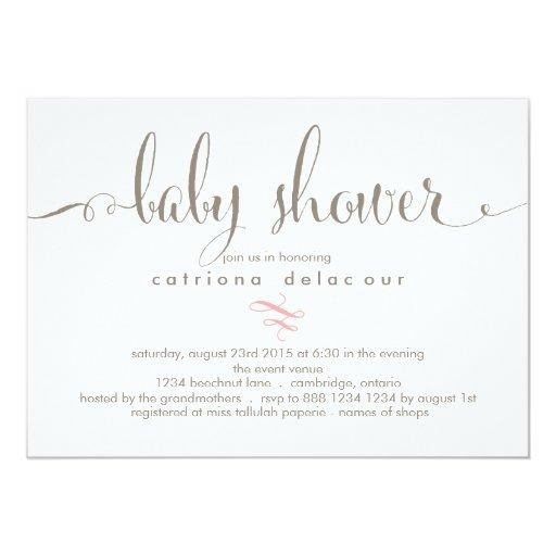Whimsical calligraphy baby shower invitation zazzle