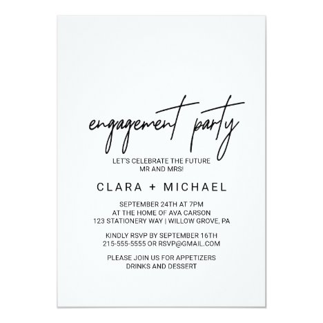 Whimsical Calligraphy Engagement Party Invitation