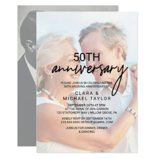 Whimsical Calligraphy | Faded Photo Anniversary Invitation