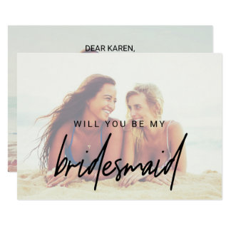 Whimsical Calligraphy | Faded Photo Bridesmaid Card