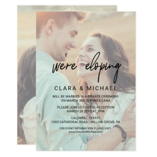 Whimsical Calligraphy | Faded Photo Elopement Invitation