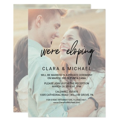 Whimsical Calligraphy Faded Photo Elopement Invitation