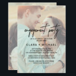 "Whimsical Calligraphy Faded Photo Engagement Party Invitation<br><div class=""desc"">This whimsical calligraphy faded photo engagement party invitation card is perfect for a modern event. The design features elegant yet rustic typography with two of your photos,  one on the front and one on the back.</div>"