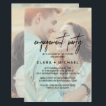 """Whimsical Calligraphy Faded Photo Engagement Party Invitation<br><div class=""""desc"""">This whimsical calligraphy faded photo engagement party invitation card is perfect for a modern event. The design features elegant yet rustic typography with two of your photos,  one on the front and one on the back.</div>"""