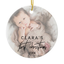 Whimsical Calligraphy Faded Photo First Christmas Ceramic Ornament