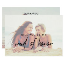 Whimsical Calligraphy | Faded Photo Maid Of Honor Invitation
