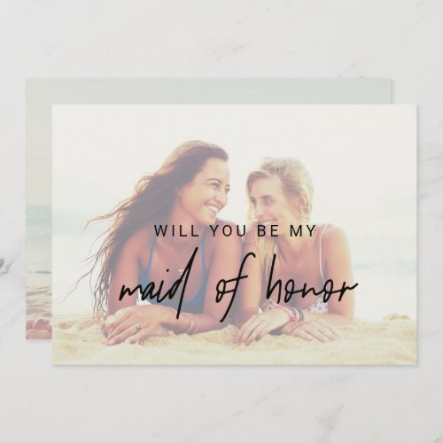 Whimsical Calligraphy  Faded Photo Maid Of Honor Invitation