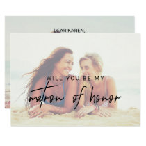 Whimsical Calligraphy Faded Photo Matron Of Honor Invitation