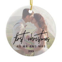 Whimsical Calligraphy Faded Photo Mr and Mrs Ceramic Ornament