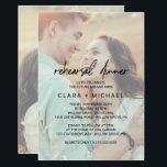 """Whimsical Calligraphy Faded Photo Rehearsal Dinner Invitation<br><div class=""""desc"""">This whimsical calligraphy faded photo rehearsal dinner invitation card is perfect for a modern wedding rehearsal. The design features elegant yet rustic typography with two of your photos,  one on the front and one on the back.</div>"""