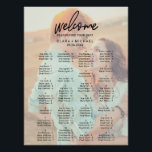 "Whimsical Calligraphy | Faded Photo Seating Chart<br><div class=""desc"">This whimsical calligraphy faded photo seating chart poster is perfect for a modern wedding. This sign can be used to organize your guests alphabetically or by table number. The design features elegant yet rustic typography with your photo in the background. This wedding poster includes enough room for up to about...</div>"
