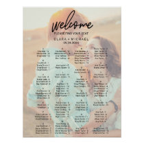 Whimsical Calligraphy | Faded Photo Seating Chart