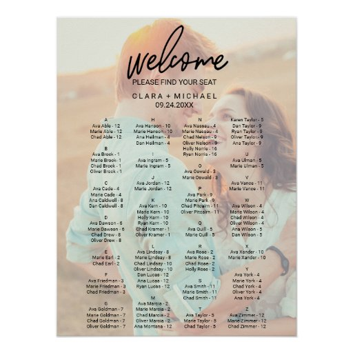 Whimsical Calligraphy Faded Photo Seating Chart