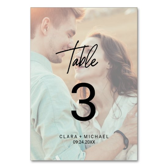 Whimsical Calligraphy | Faded Photo Table Number