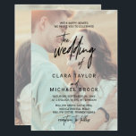"Whimsical Calligraphy | Faded Photo The Wedding Of Invitation<br><div class=""desc"">This whimsical calligraphy faded photo the wedding of invitation card is perfect for a modern wedding. The design features elegant yet rustic typography with two of your photos, one on the front and one on the back. For more wedding invitation wording options, please see the complete whimsical calligraphy wedding collection:...</div>"