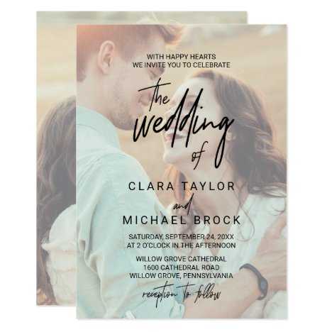 Whimsical Calligraphy | Faded Photo The Wedding Of Invitation