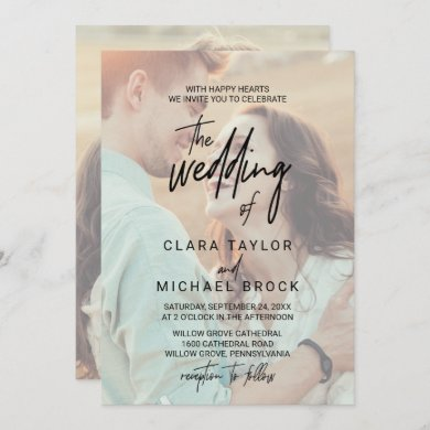 Whimsical Calligraphy   Faded Photo The Wedding Of Invitation