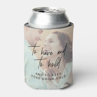 Whimsical Calligraphy | Faded Photo Wedding Favor Can Cooler