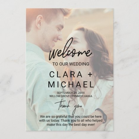 Whimsical Calligraphy Faded Photo Wedding Program