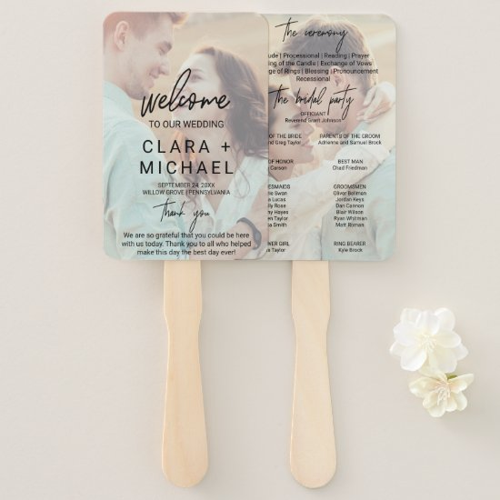Whimsical Calligraphy Faded Photo Wedding Program Hand Fan