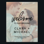 "Whimsical Calligraphy Faded Photo Welcome Wedding Poster<br><div class=""desc"">This whimsical calligraphy faded photo welcome wedding poster is perfect for a modern wedding. The design features elegant yet rustic typography with your photo in the background. Customize the poster with the name of the bride and groom,  and the date and location of the wedding.</div>"