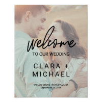 Whimsical Calligraphy Faded Photo Welcome Wedding Poster