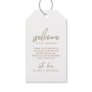 Whimsical Calligraphy Gold Wedding Welcome Gift Tags