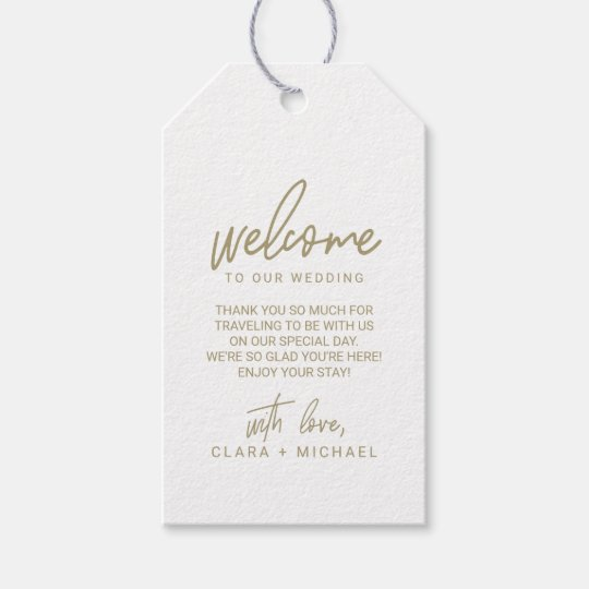 bf7843942 Whimsical Calligraphy Gold Wedding Welcome Gift Tags