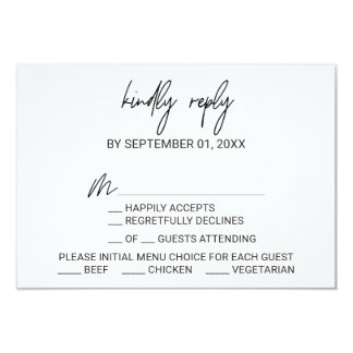Whimsical Calligraphy Menu Choice RSVP Card
