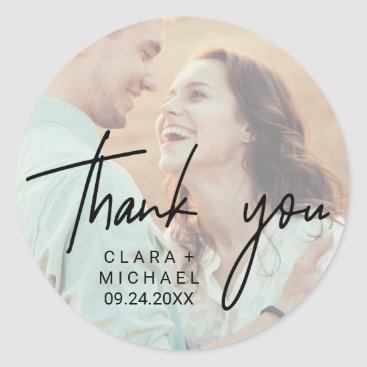 Bride Themed Whimsical Calligraphy | Photo Back Thank You Favor Classic Round Sticker