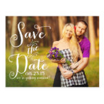 Whimsical Calligraphy Photo Save the Date Postcard