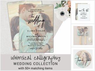 Whimsical Calligraphy Photo Wedding Invitation Set