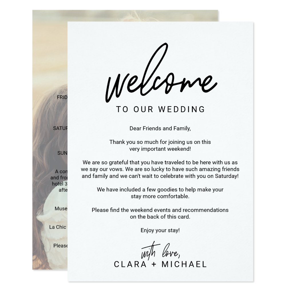 Whimsical Calligraphy Photo Wedding Welcome Letter Card