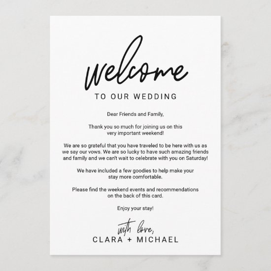 Whimsical Calligraphy Photo Wedding Welcome Letter Program