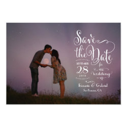 Whimsical Calligraphy Script Photo Save the Date