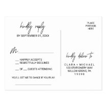 Whimsical Calligraphy Song Request RSVP Postcard