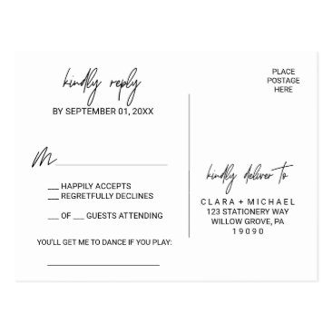 Wedding Themed Whimsical Calligraphy Song Request RSVP Postcard