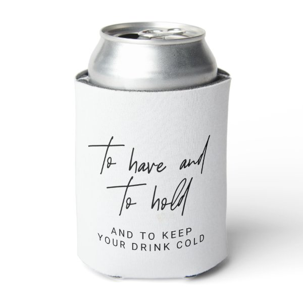 Whimsical Calligraphy Wedding Favor Can Cooler