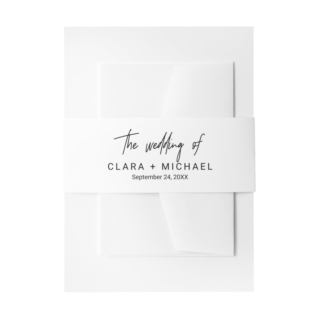 Whimsical Calligraphy Wedding Invitation Belly Band