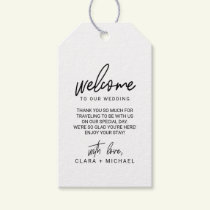 Whimsical Calligraphy Wedding Welcome Gift Tags